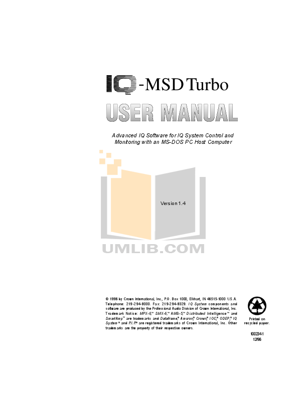 pdf for Crown Other MRX-12S Matrixers manual