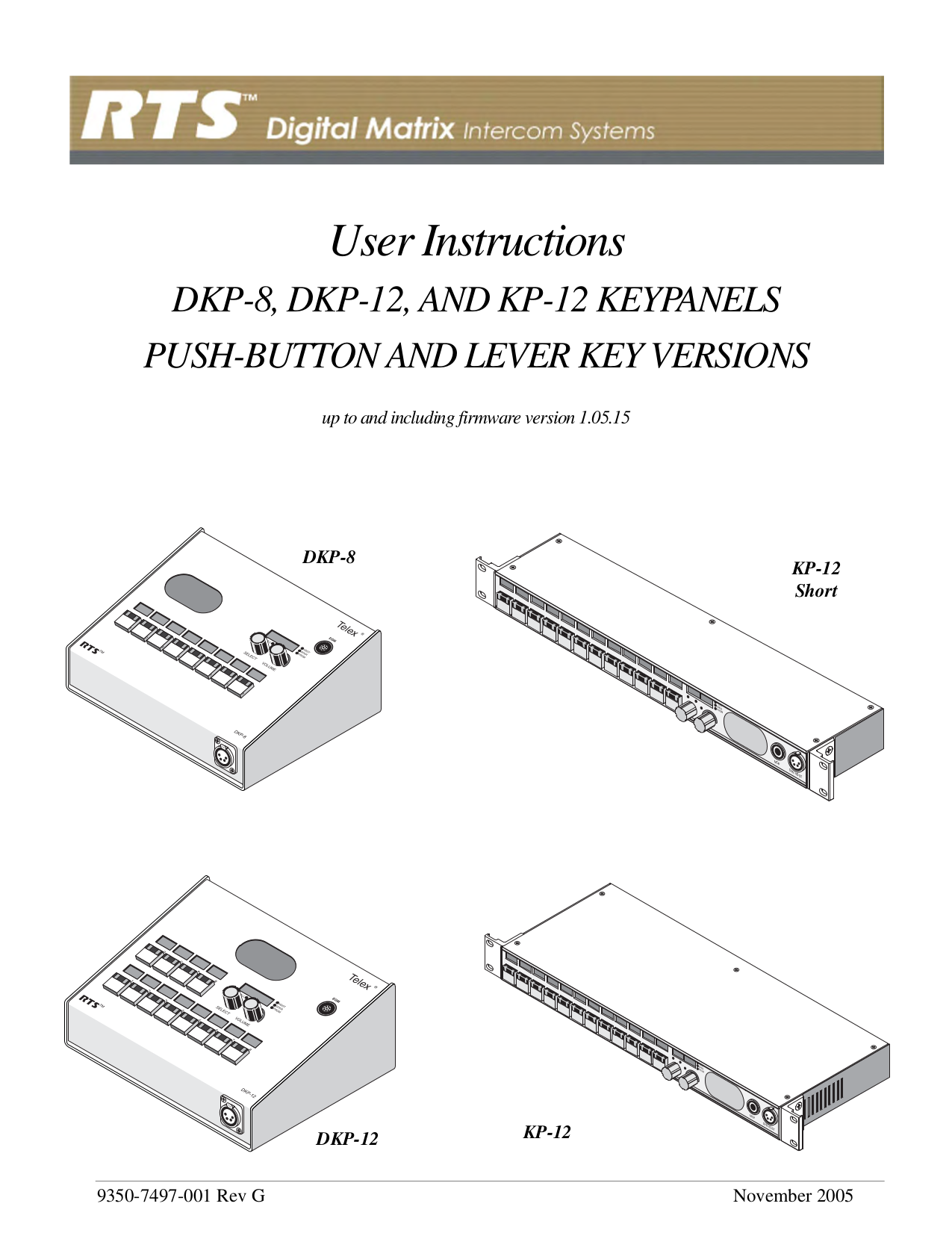 pdf for Telex Other KP-98 IntercomSystem manual