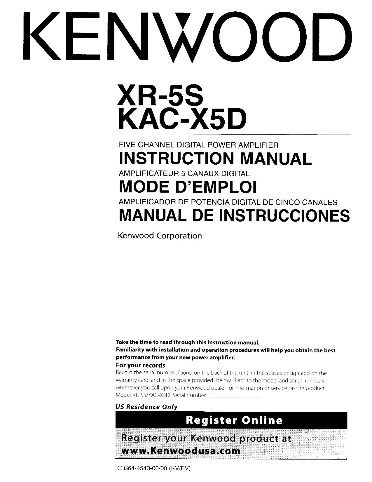 pdf for Kenwood Amp KAC-625 manual