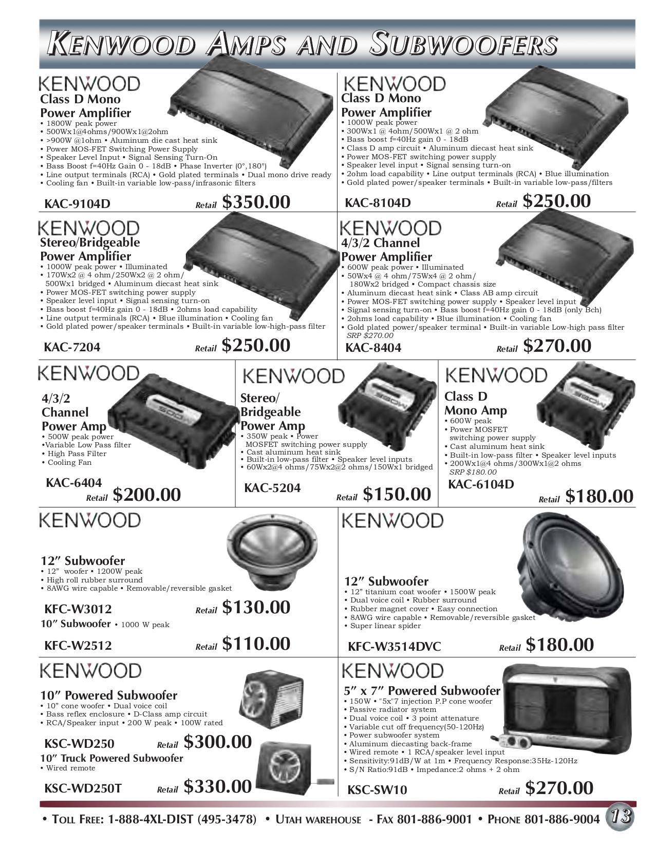 Download free pdf for Kenwood KAC-625 Amp manual on