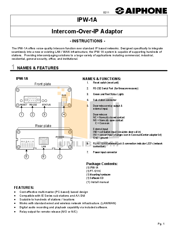 pdf for Aiphone Other AX-A Intercoms manual