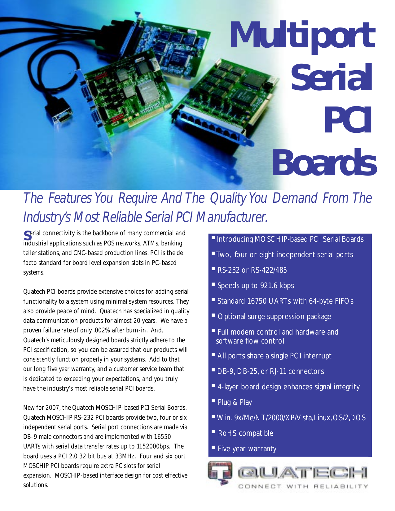pdf for Quatech Other ESC-100D PCI Serial Boards manual