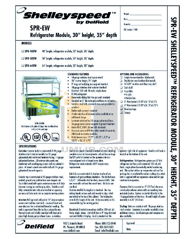 pdf for Delfield Refrigerator Shelleyspeed SPR-64W manual