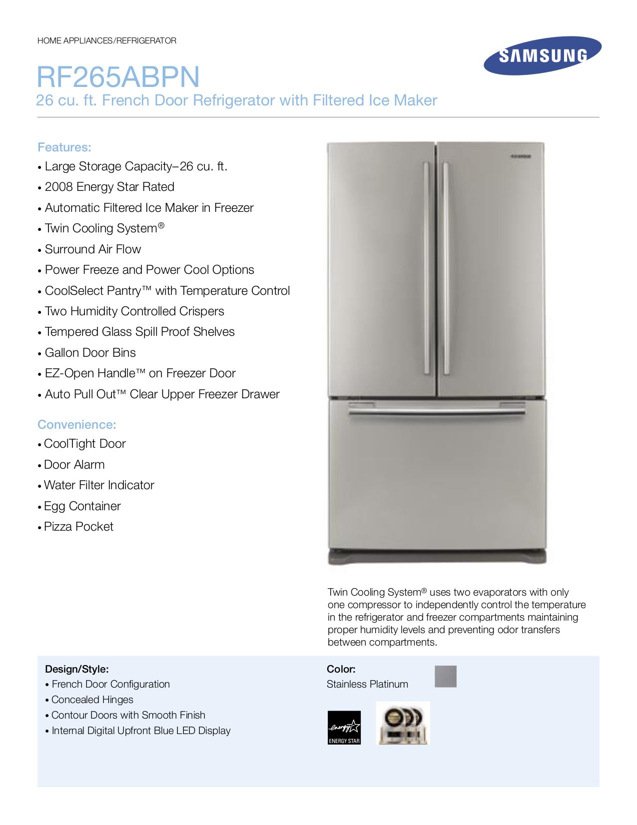 pdf for Samsung Refrigerator RF265ABPN manual