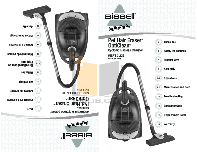pdf for Bissell Vacuum 76T8 manual