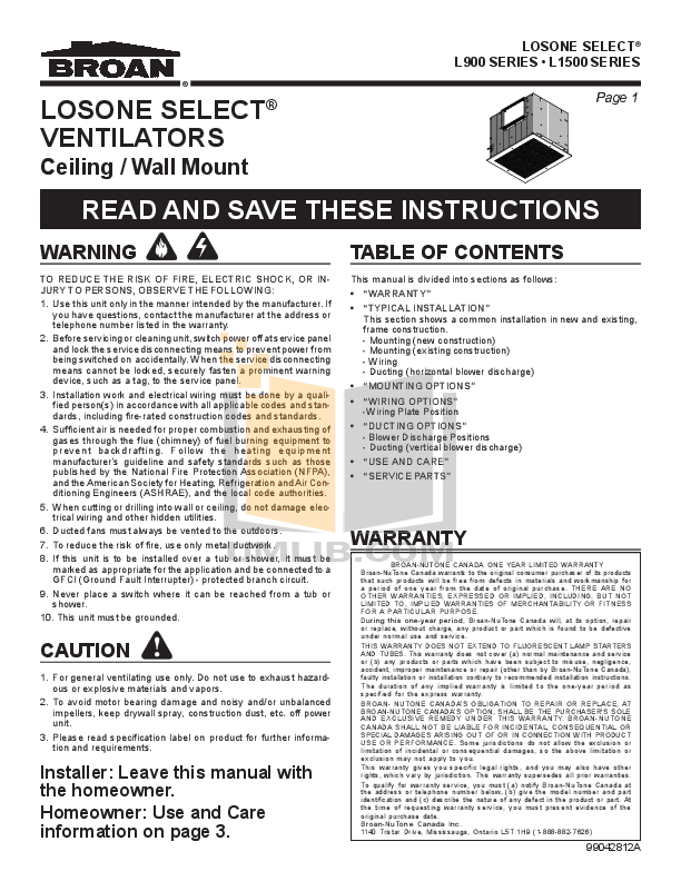 pdf for Broan-NuTone Other L900EX Ventilators manual