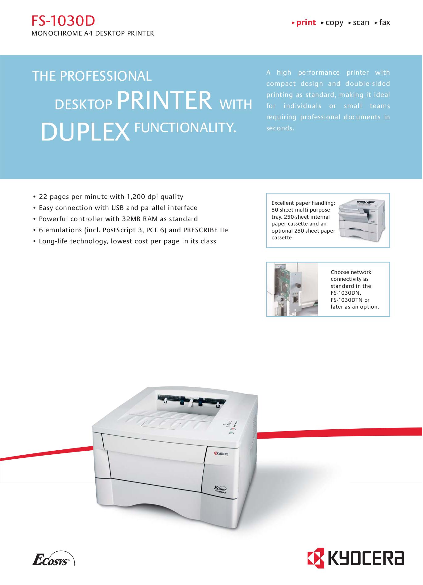 pdf for Kyocera Printer FS-1030D manual