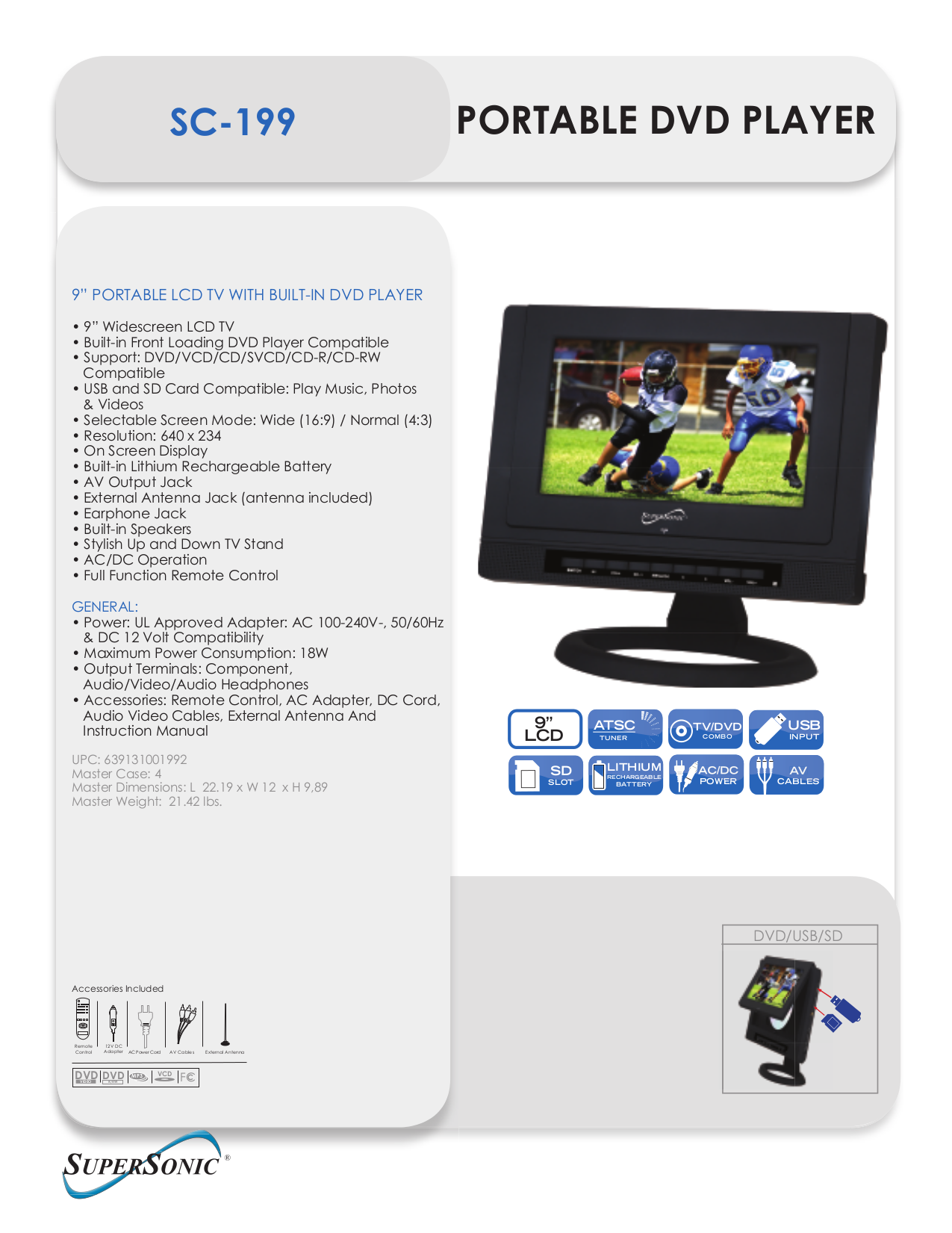 pdf for Supersonic Portable DVD Player SC-199 manual