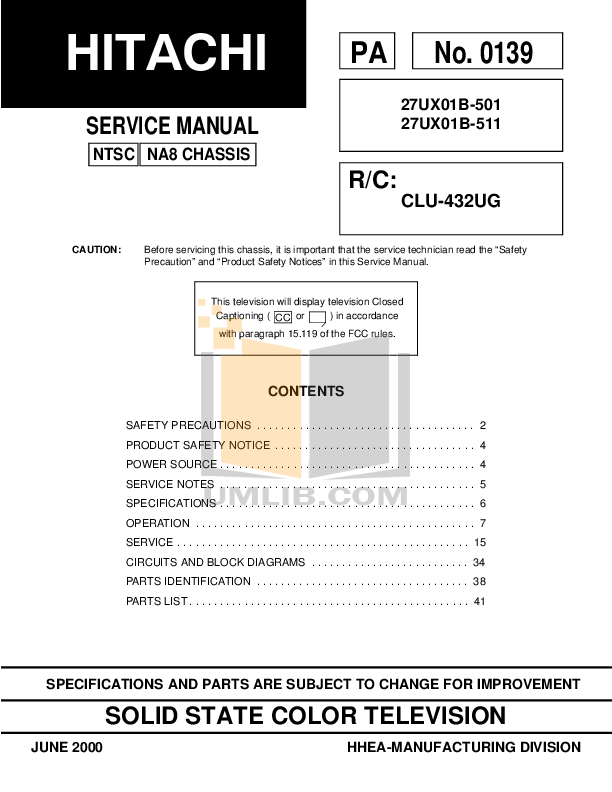 pdf for Hitachi TV 27UX01 manual