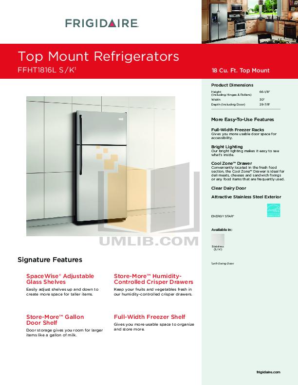 pdf for Frigidaire Refrigerator FFHT1816L manual
