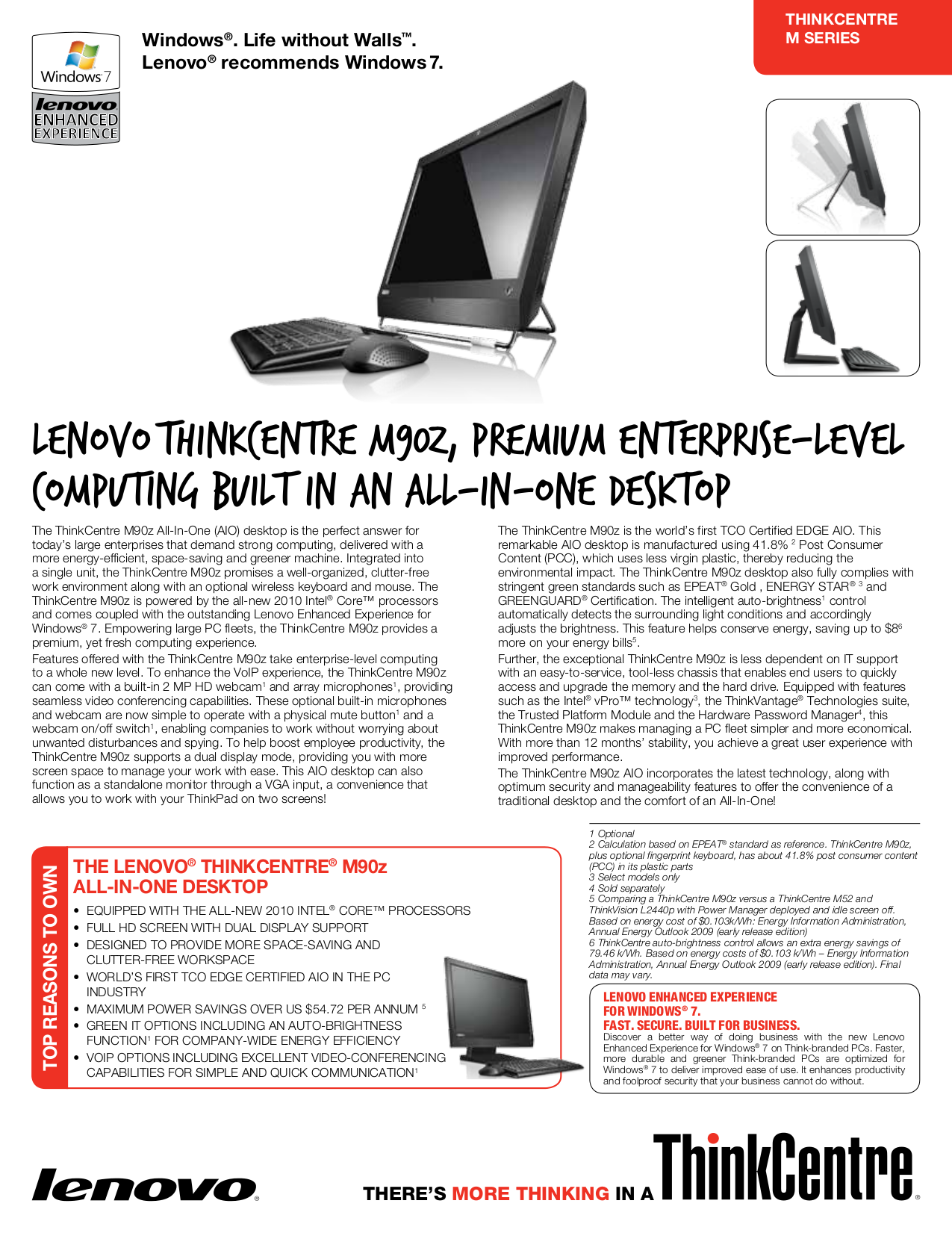 pdf for Lenovo Desktop ThinkCentre M90z 5205 manual