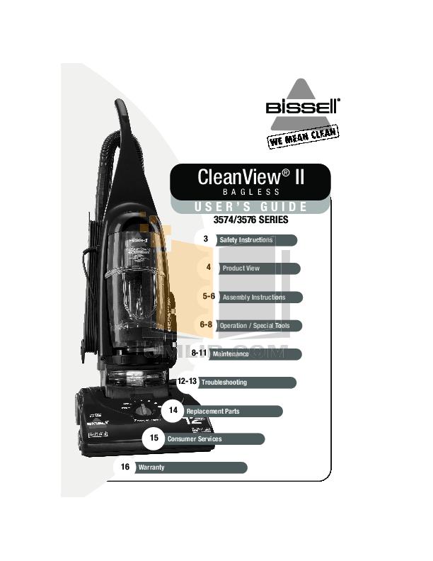 pdf for Bissell Vacuum 3574 manual