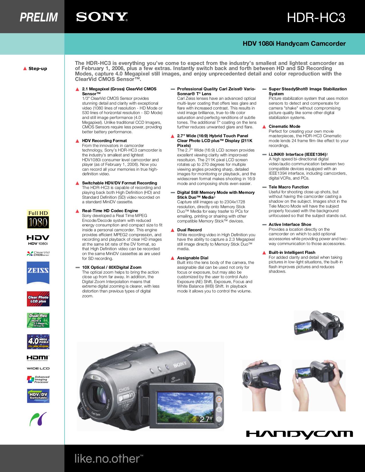 sony hdr-hc3 manual pdf