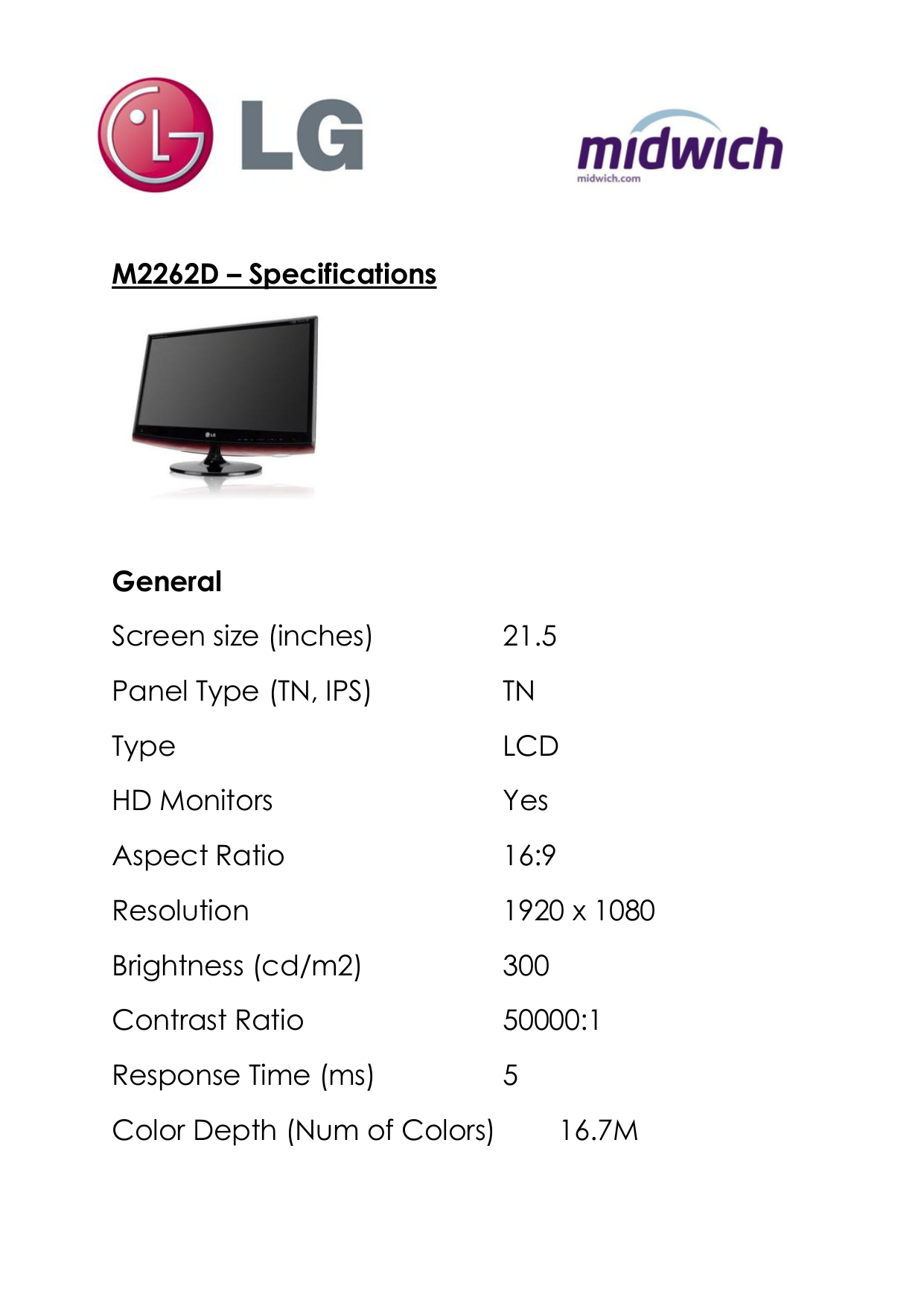 pdf for LG Monitor M2262D manual