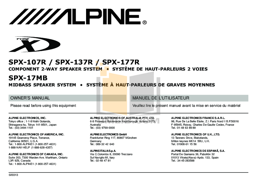 pdf for Alpine Other SPX-107R Car Speakers manual