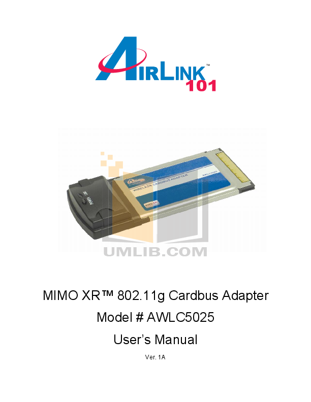 pdf for Airlink Other AWLC5025 Adapters manual