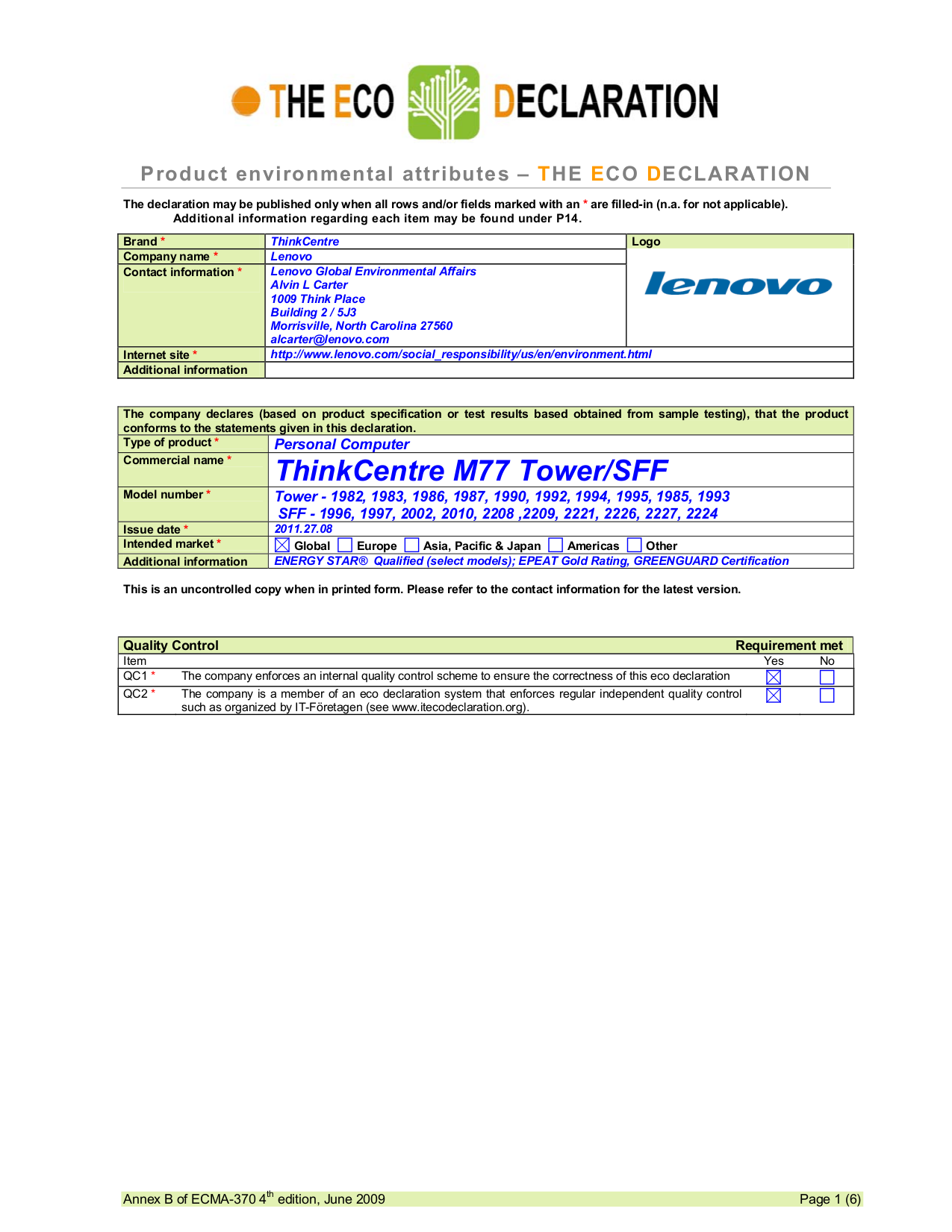 pdf for Lenovo Desktop ThinkCentre M77 1996 SFF manual