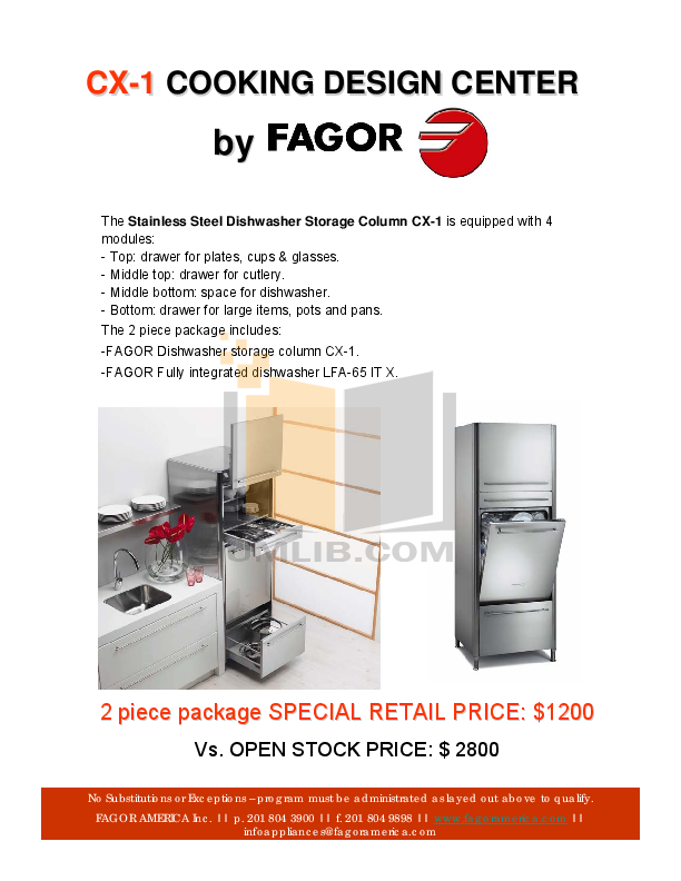 pdf for Fagor Dishwasher CX-1 manual