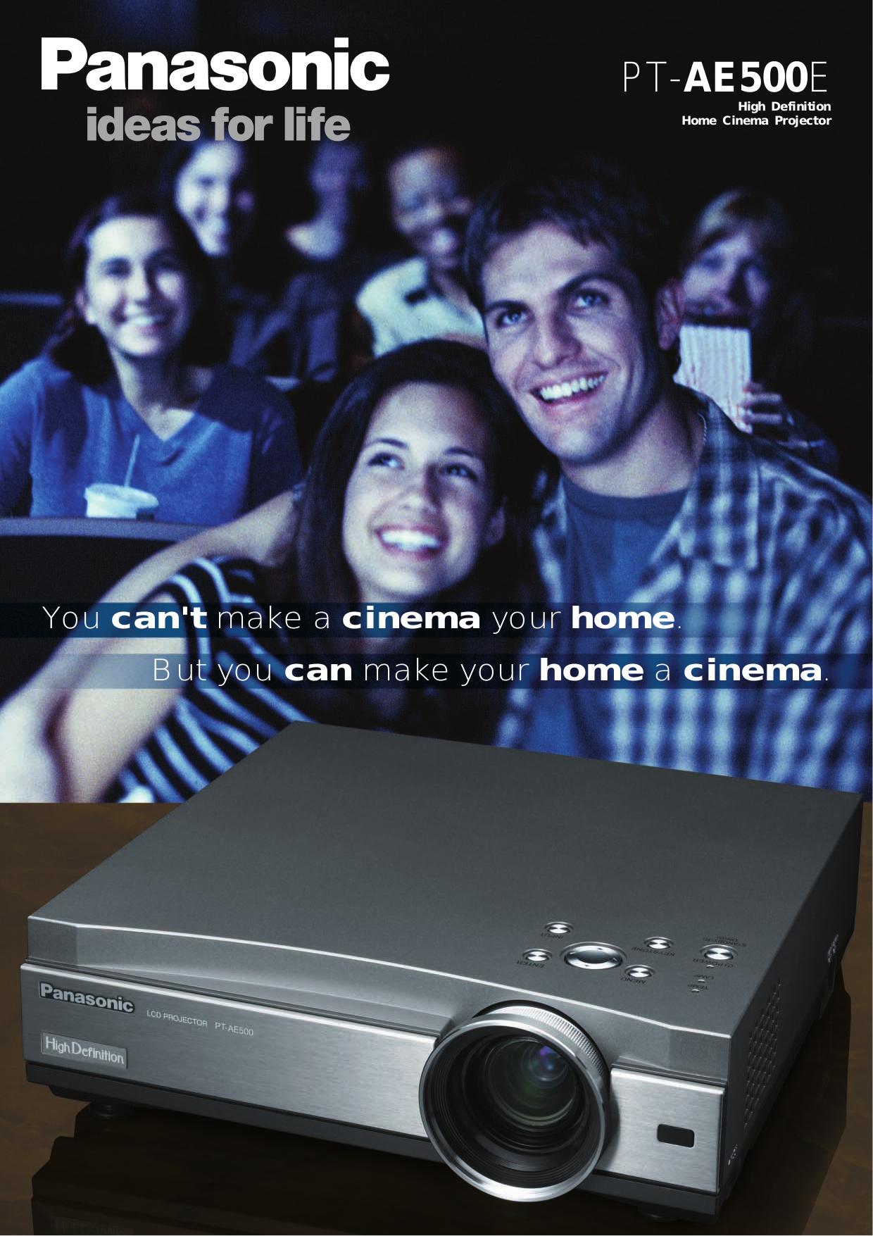 pdf for Panasonic Projector PT-AE500U manual