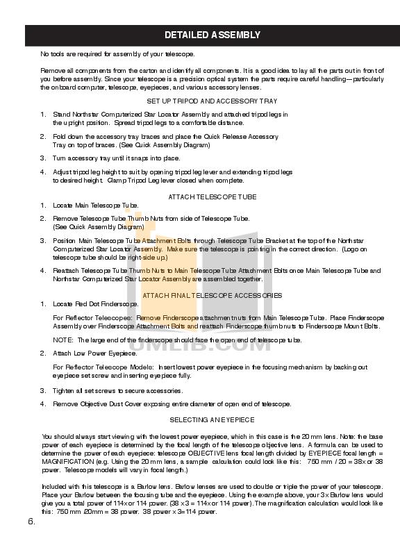 PDF manual for Bushnell Telescope Northstar 78-8876