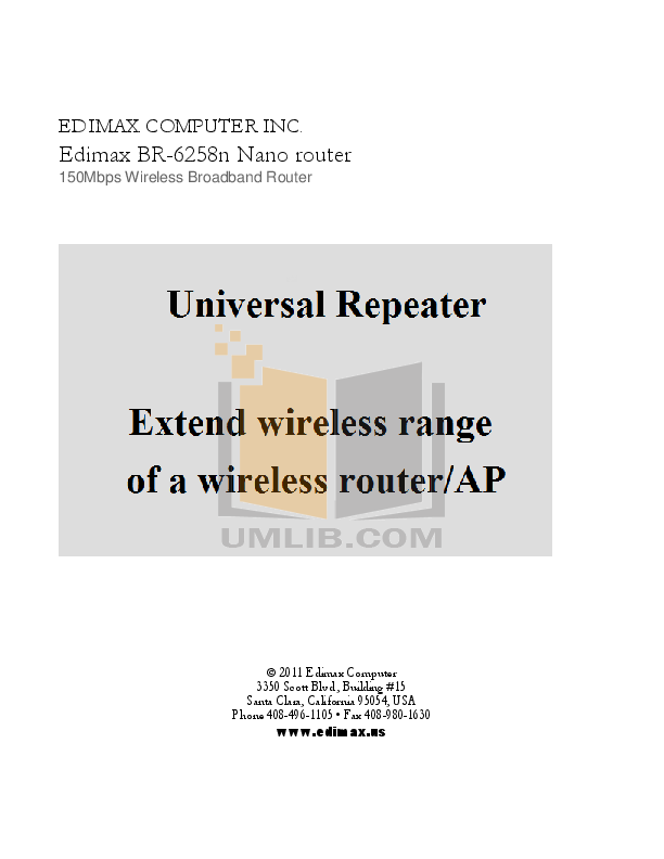 pdf for Edimax Wireless Router BR-6324nL manual