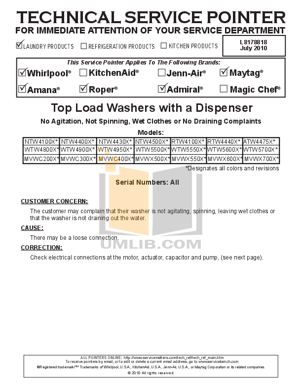 Amana Washer NTW4500X pdf page preview
