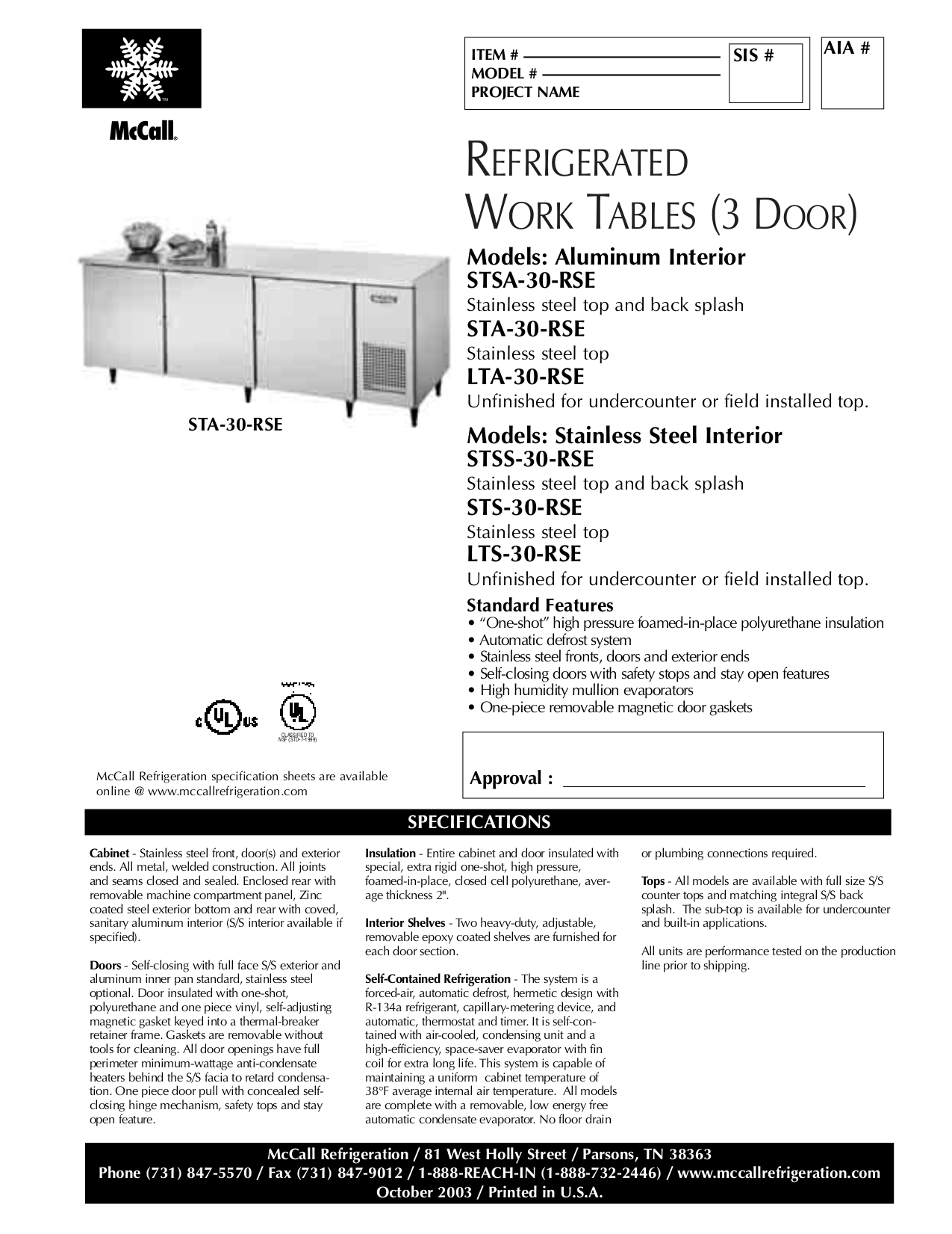 pdf for McCall Refrigerator STSS-30-RSE manual