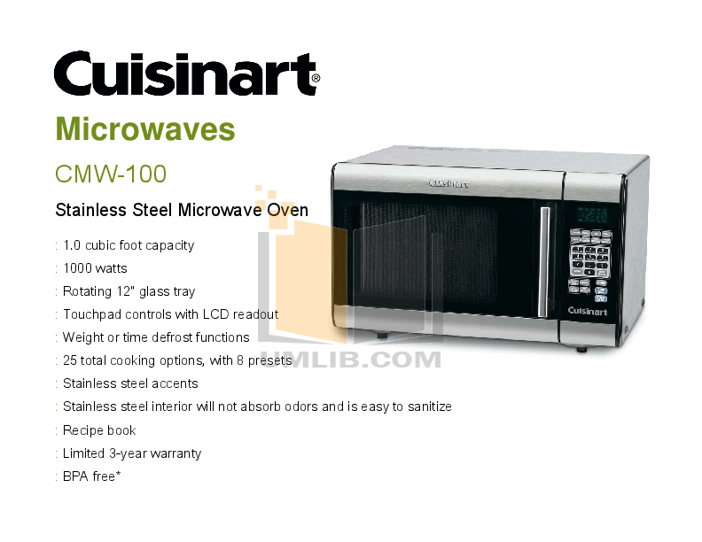 Pdf For Cuisinart Microwave Cmw 100 Manual