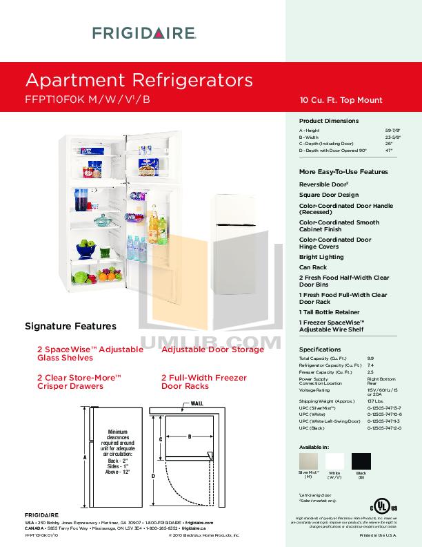 pdf for Frigidaire Refrigerator FFPT10F0K manual