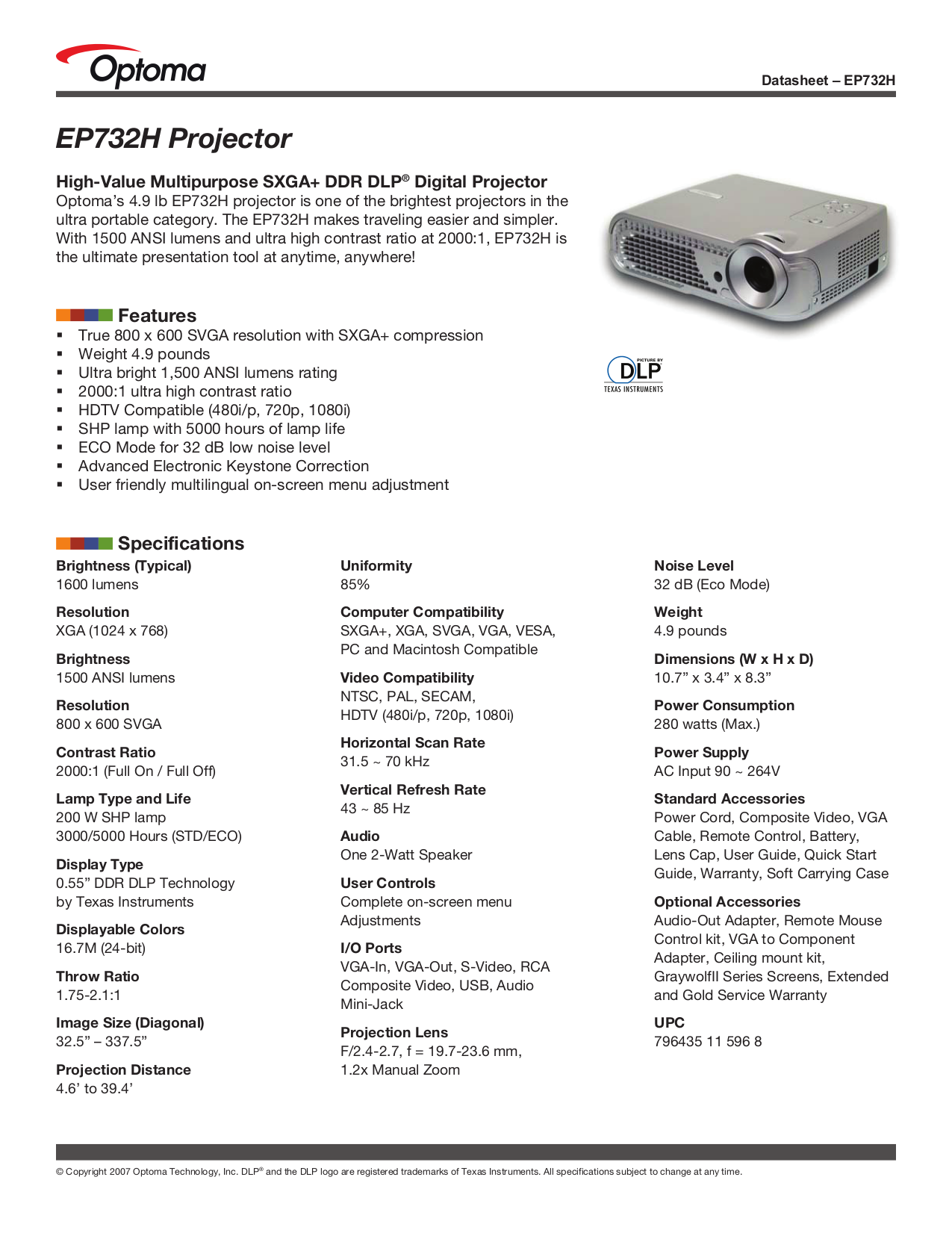 pdf for Optoma Projector EP732H manual