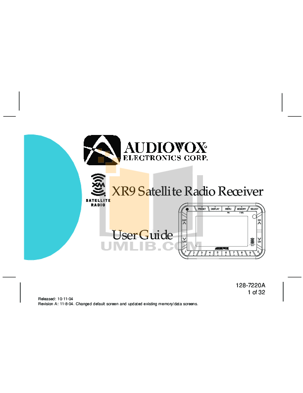 pdf for Audiovox Car Receiver CS manual