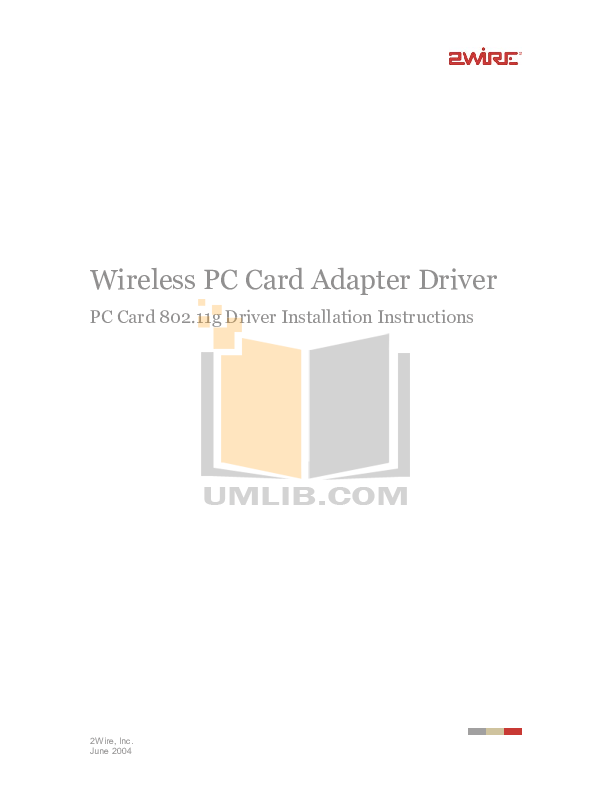 pdf for 2wire Other 802.11g PC Card Wireless Adapter Adapter manual