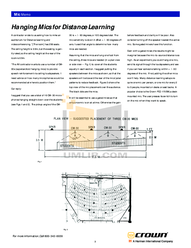 Crown Other PCC-170SW Microphones pdf page preview