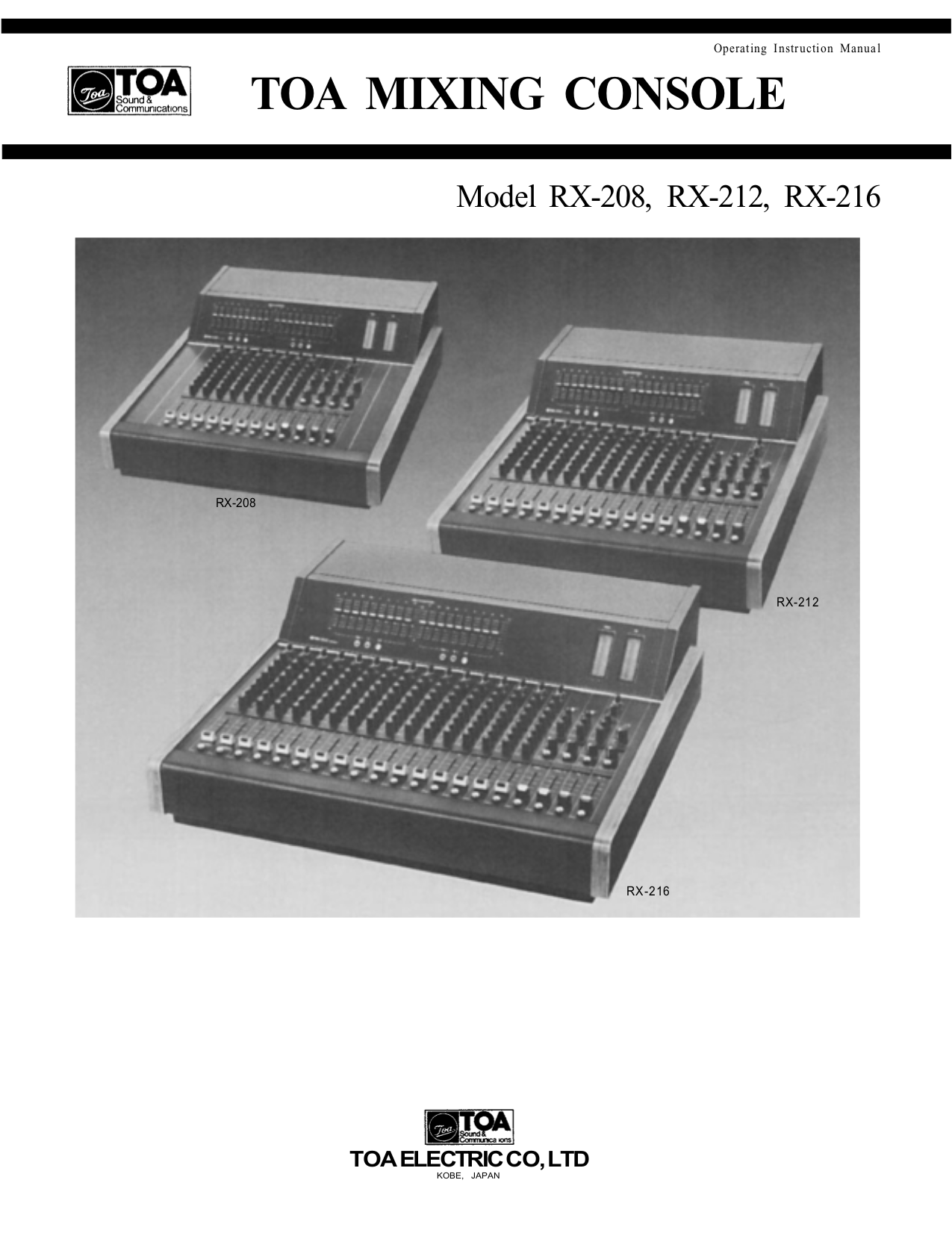 Download free pdf for Toa RX-31C Mixing Consoles Other manual