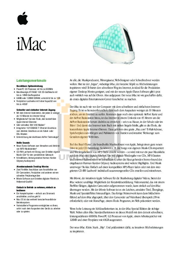 Apple Desktop iMac G3 M7680 pdf page preview