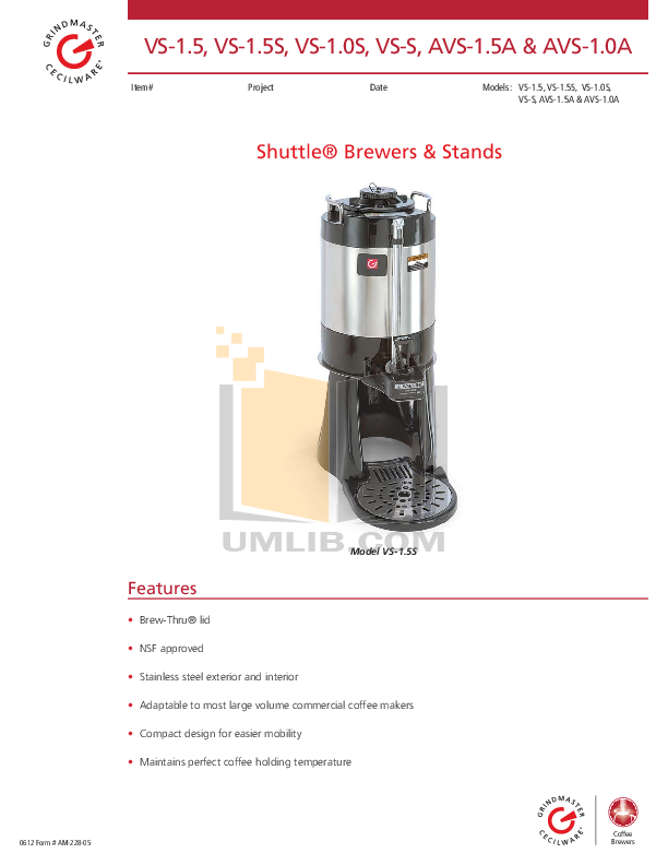 Download free pdf for Grindmaster VS-1.5S Coffee Maker manual