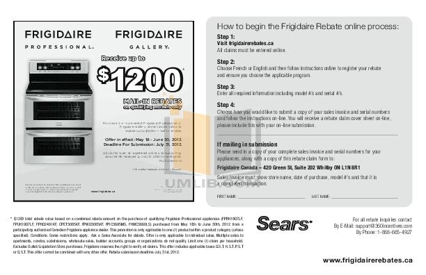 pdf for Frigidaire Refrigerator Gallery FGHC2345LF manual