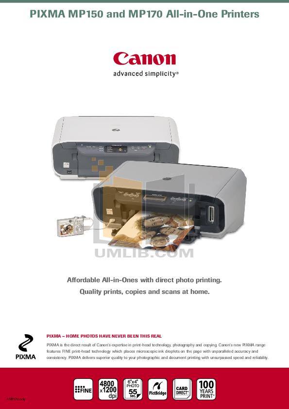 Canon pixma mp150 инструкция