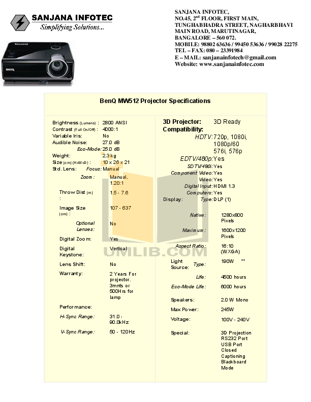 pdf for Benq Projector MW512 manual