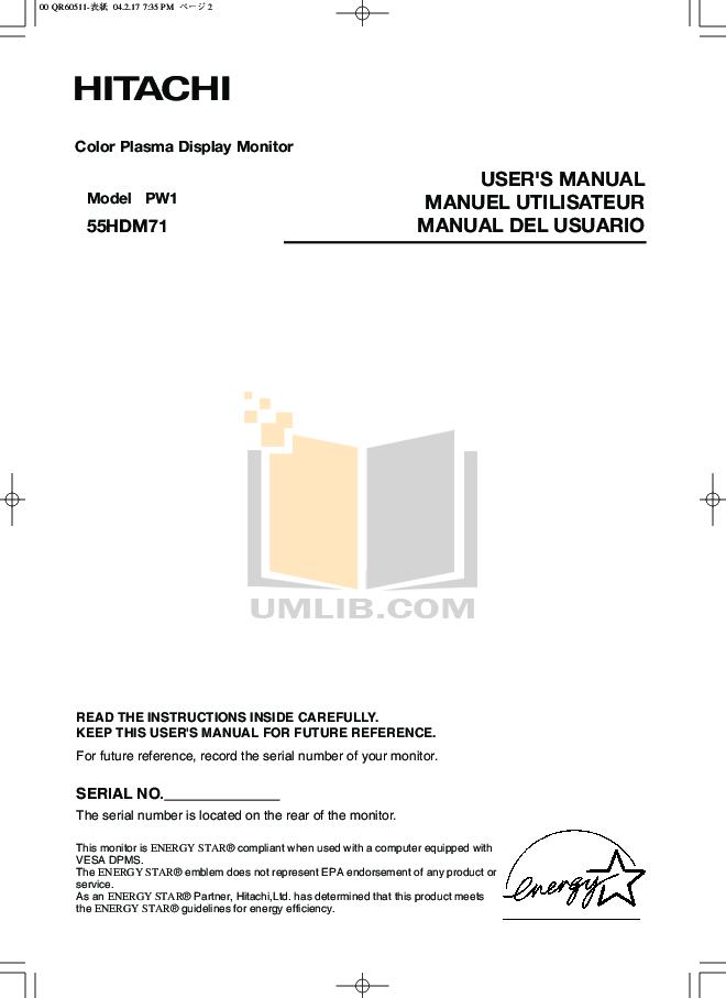 pdf for Hitachi TV 55HDM71 manual
