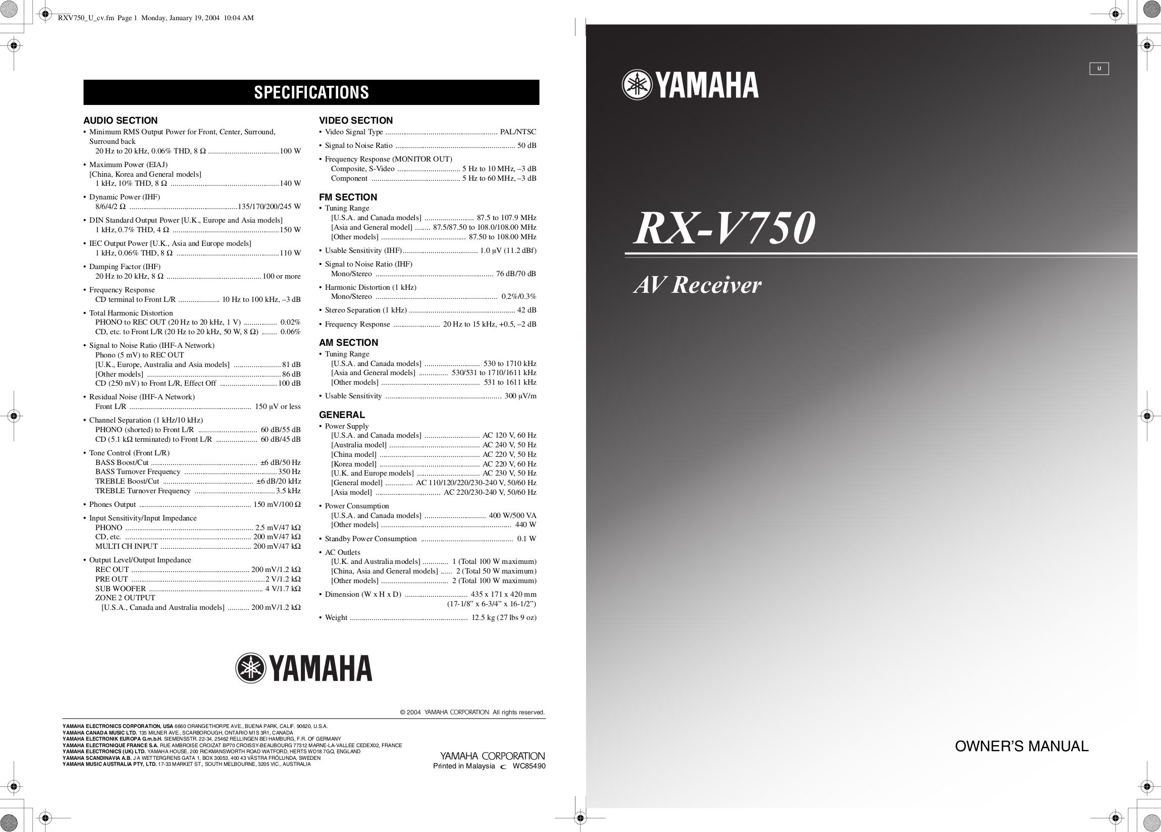 yamaha rx v1800 manual pdf