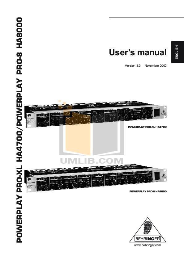 download free pdf for behringer powerplay pto ha8000 amp manual rh umlib com Behringer Mixer Manuals Behringer BX600
