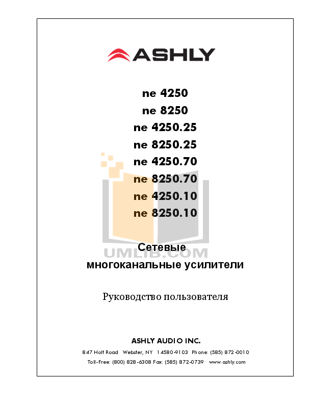 pdf for Ashly Amp NE8250.70 manual