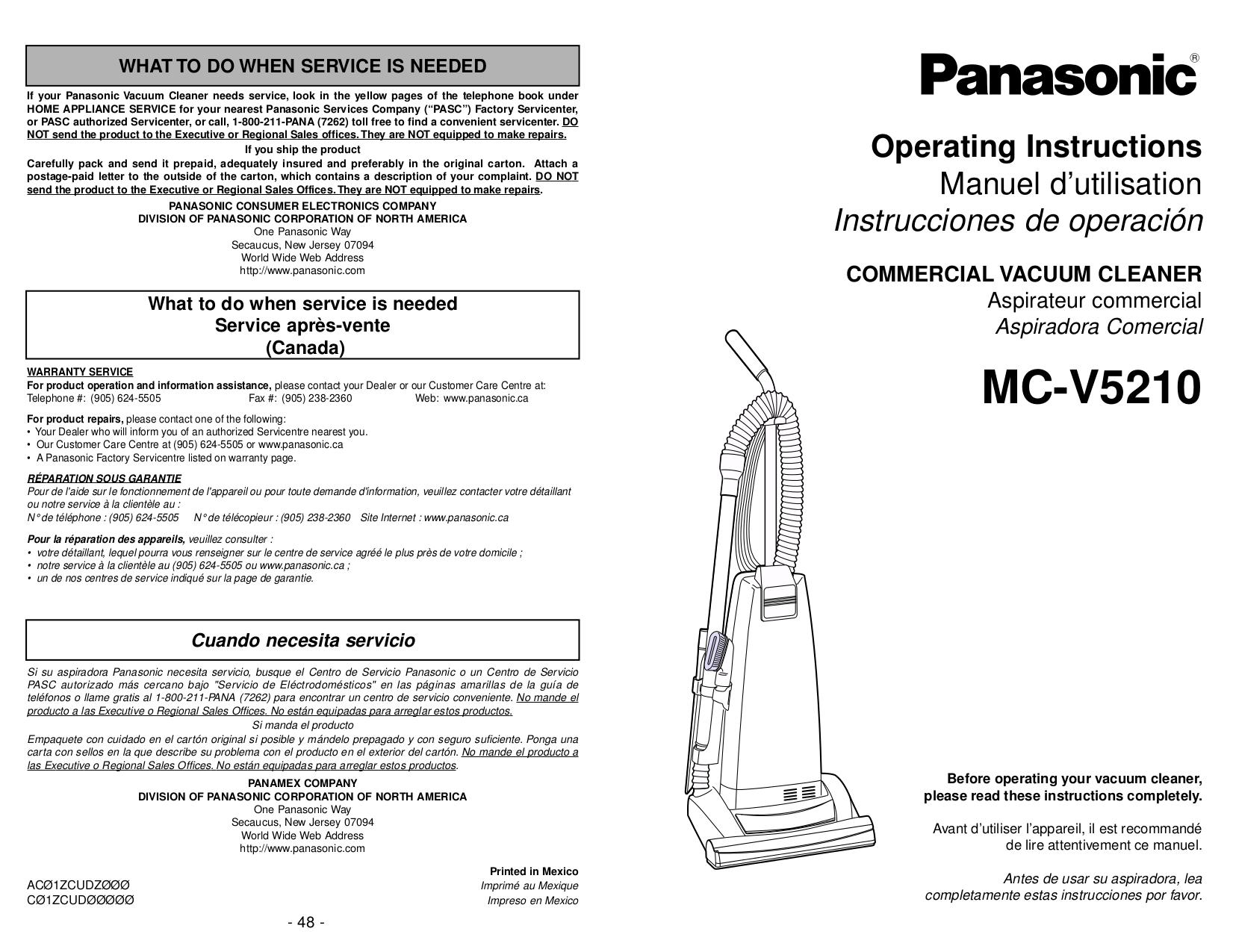 pdf for Panasonic Vacuum MC-V5210 manual