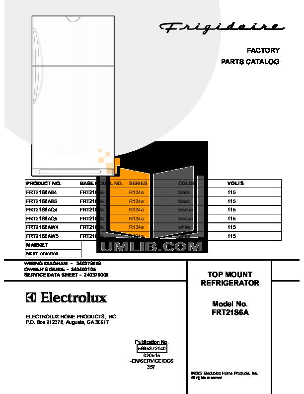 pdf for Frigidaire Refrigerator FRT21S6AW5 manual