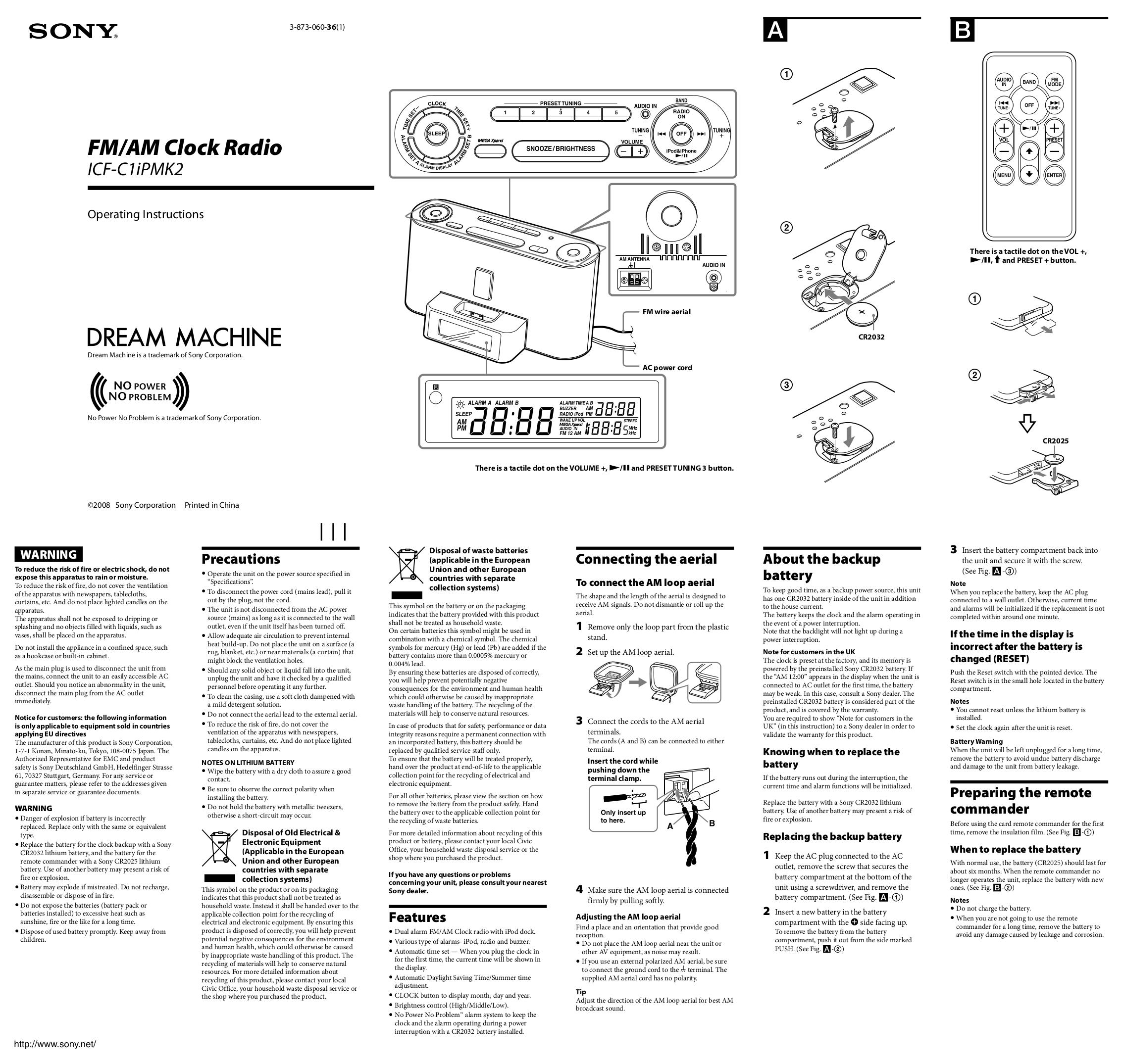 download free pdf for sony icf c1ipmk2 clock radio manual rh umlib com Sony Dream Machine Clock Radio Sony Dream Machine Directions