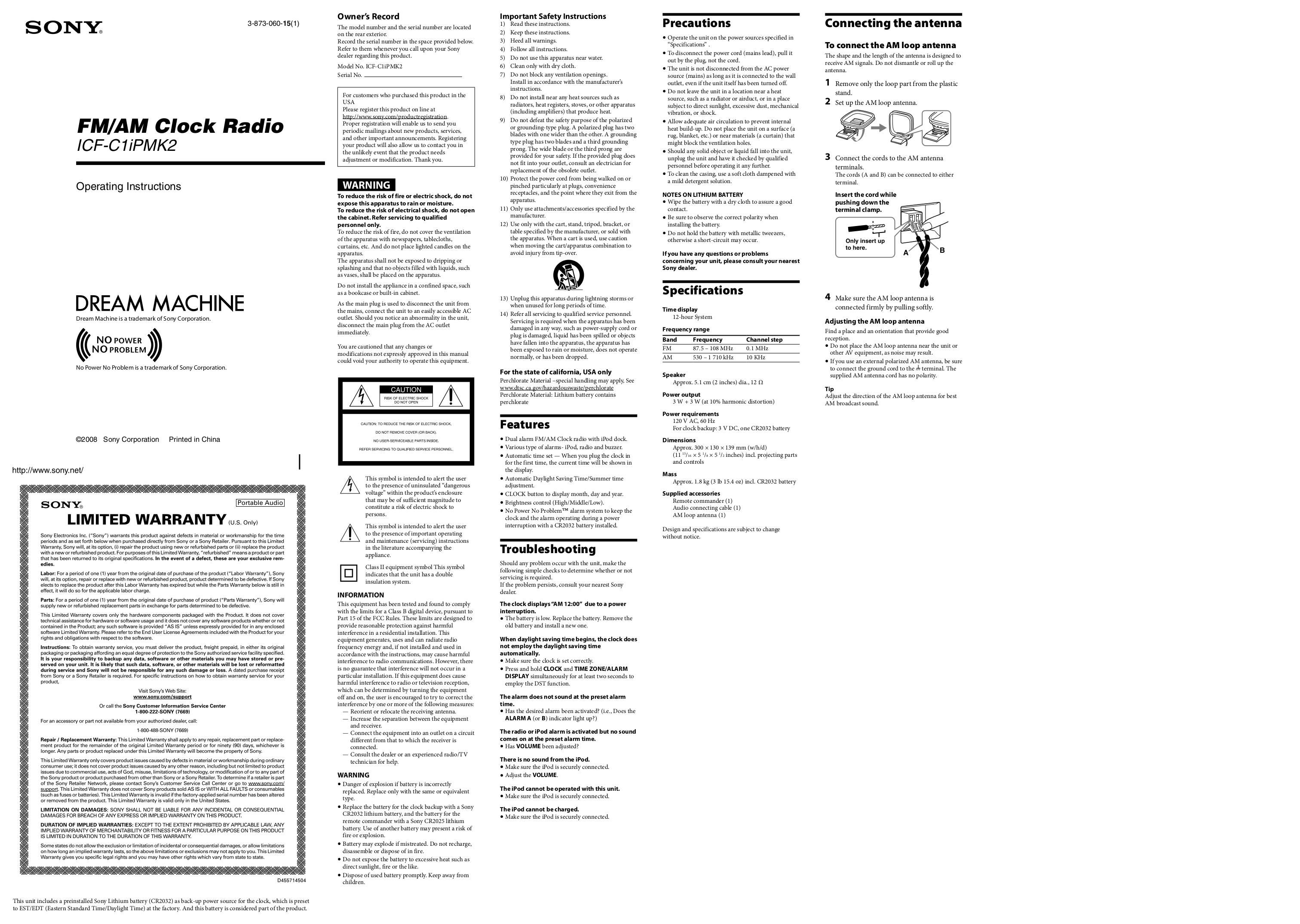 download free pdf for sony icf c1ipmk2 clock radio manual rh umlib com Sony Dream Machine Clock Radio sony dream machine manual icf-clipmk2
