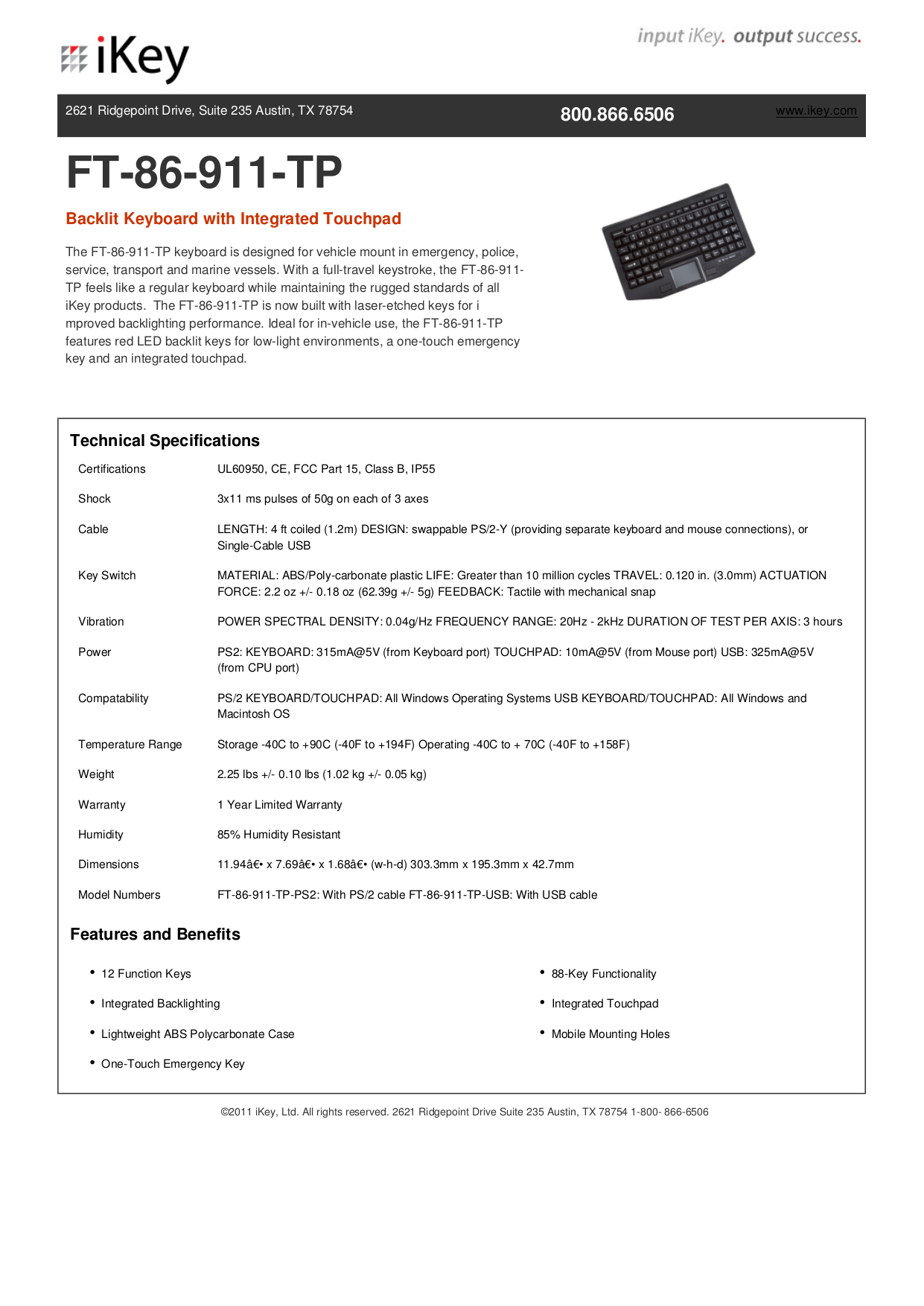 iKey Keyboard FT-88-911 pdf page preview