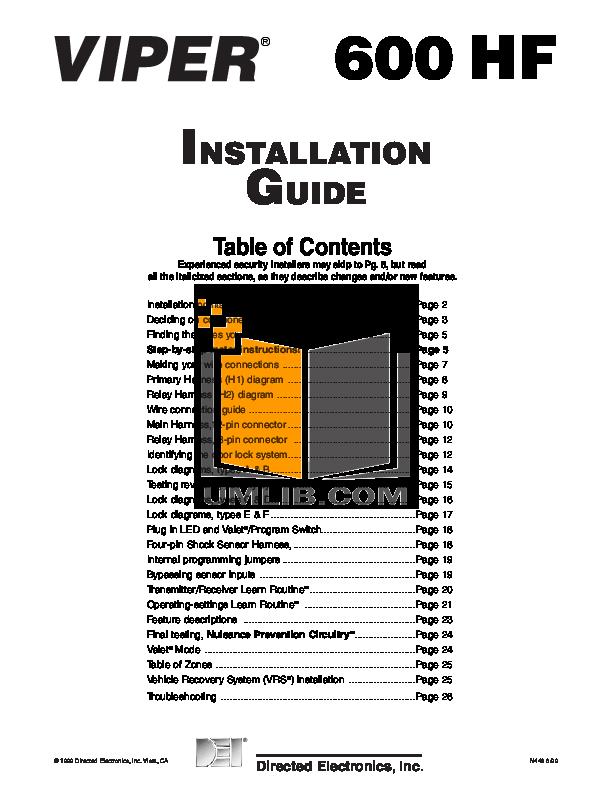 download free pdf for dei viper 600hf car alarms other manual rh umlib com Viper Remote Car Starter Manual Viper Remote Starter Manuals
