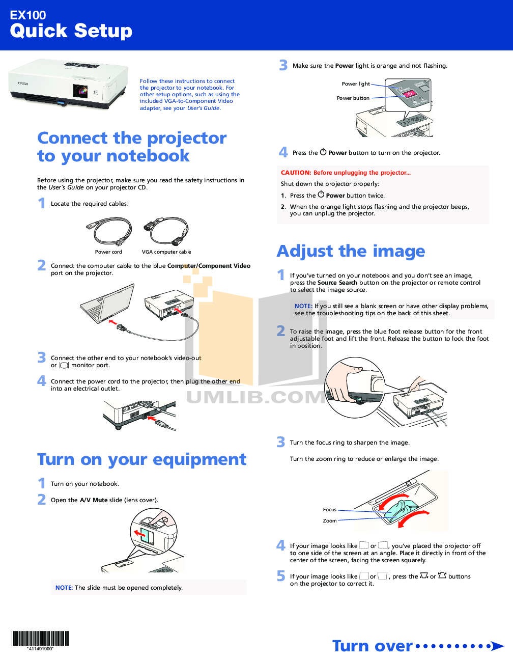 pdf for Epson Projector EX100 manual